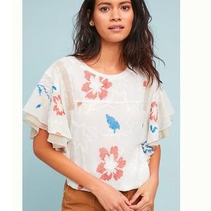 Anthropologie | Tiny ruffled top